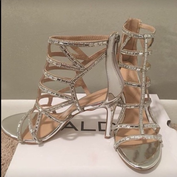 Silver Aldo Norta Zip Up Stiletto Evening Sandals
